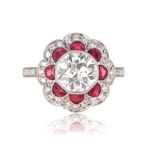 Ruby Floral Ring Top View