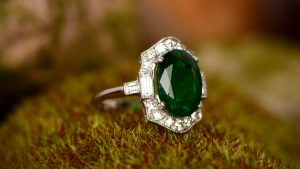 Emerald Cocktail Ring on Grass Surface
