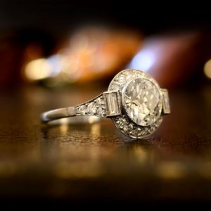 A French Art Deco Halo Engagement Ring