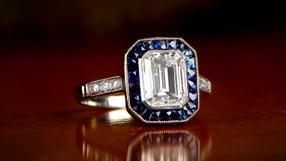 Vintage Engagement Ring on Table