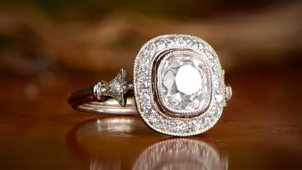 Vintage Halo Diamond Ring With Foliage