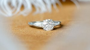 second hand engagement ring with feathers
