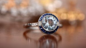 Aquamarine and Sapphire Halo Ring
