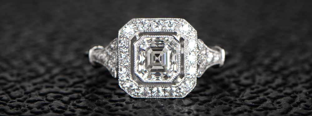 Asscher Cut Diamond Ring on Black BG