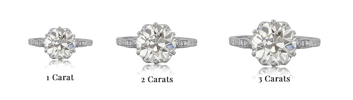 The Complete Guide To Diamond Carat Size Estate Diamond Jewelry