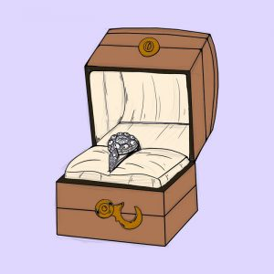 Illustration of engagement ring in box