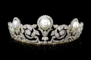 M. Khordipour Tiara of Natural Pearls and Diamonds