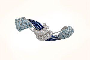 Aquamarine and sapphire brooch
