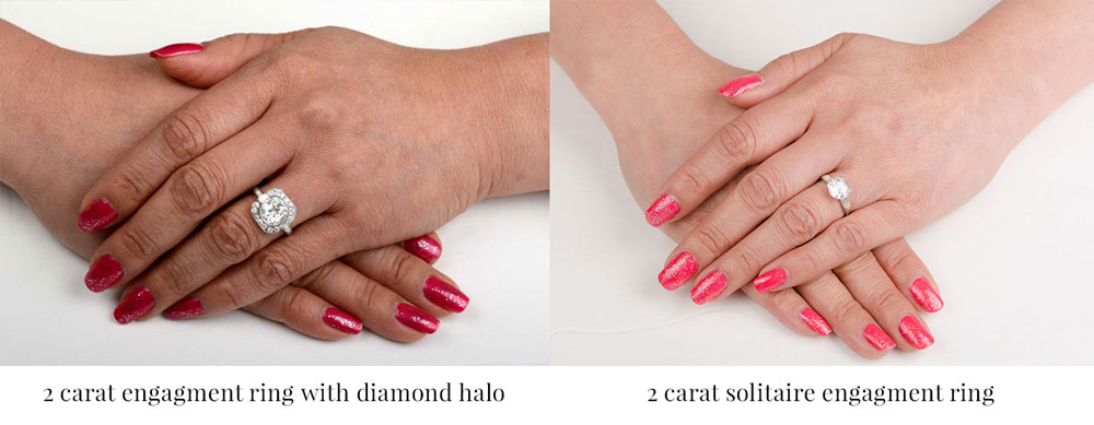 two carat engagement rings on finger comparison with halo