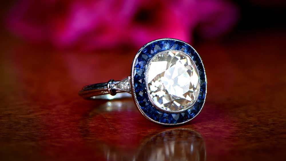 J Color Diamond Sapphire Halo Engagement Ring