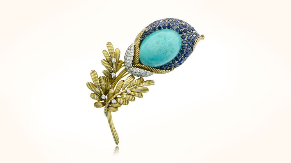 Antique Persian Turquoise Brooch