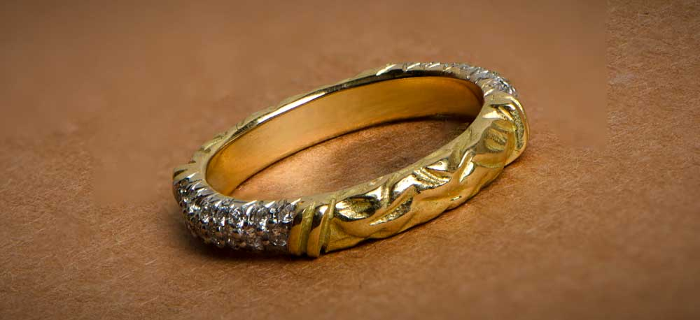 Wedding Band with gold and diamonds
