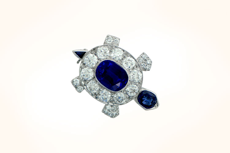 Turtle Brooch with Old Mine Cut Diamonds