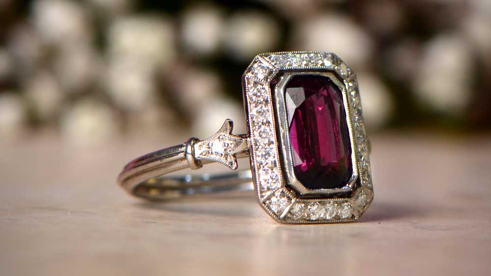 Garnet Platinum Ring January Birthstone