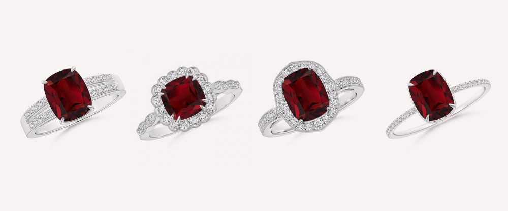 Garnet Platinum Rings