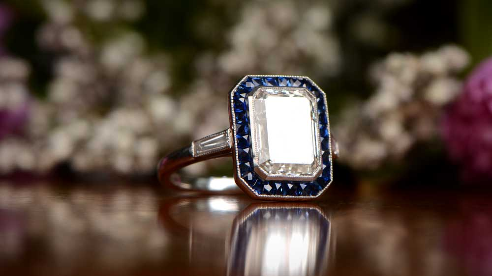 Art Deco Style Engagement Ring with Sapphire Halo