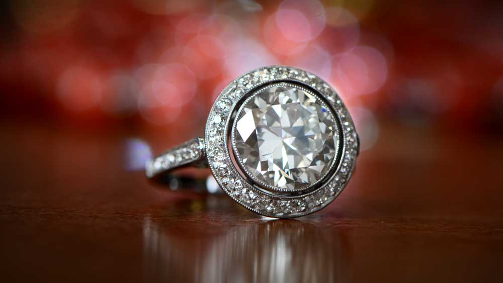 Big Diamond Engagement Ring with Halo