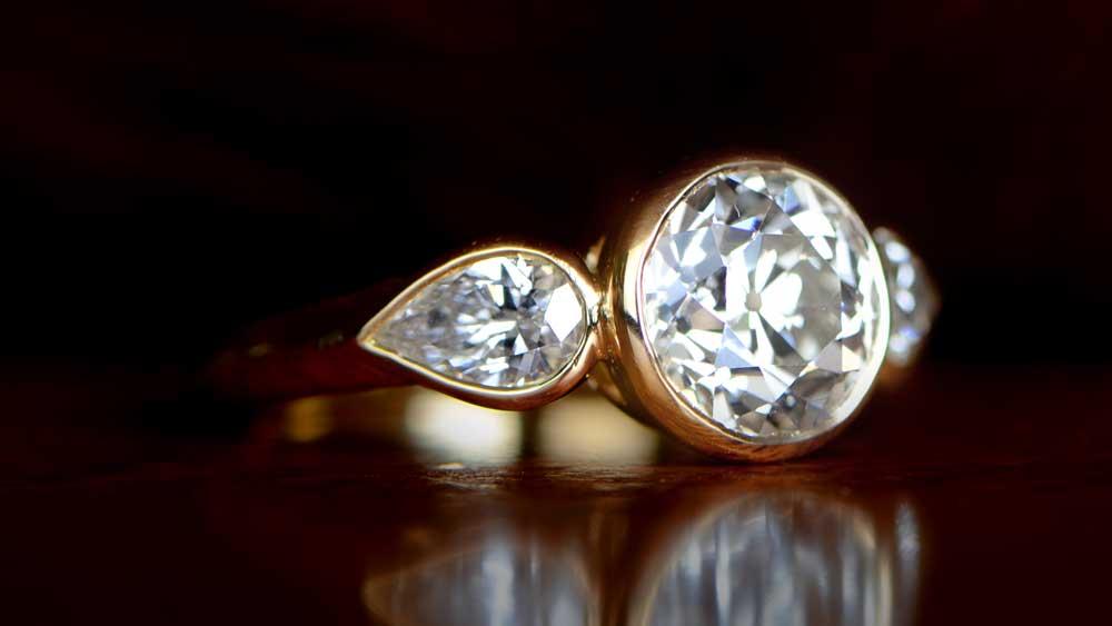 Bezel Set Diamond Gold Ring
