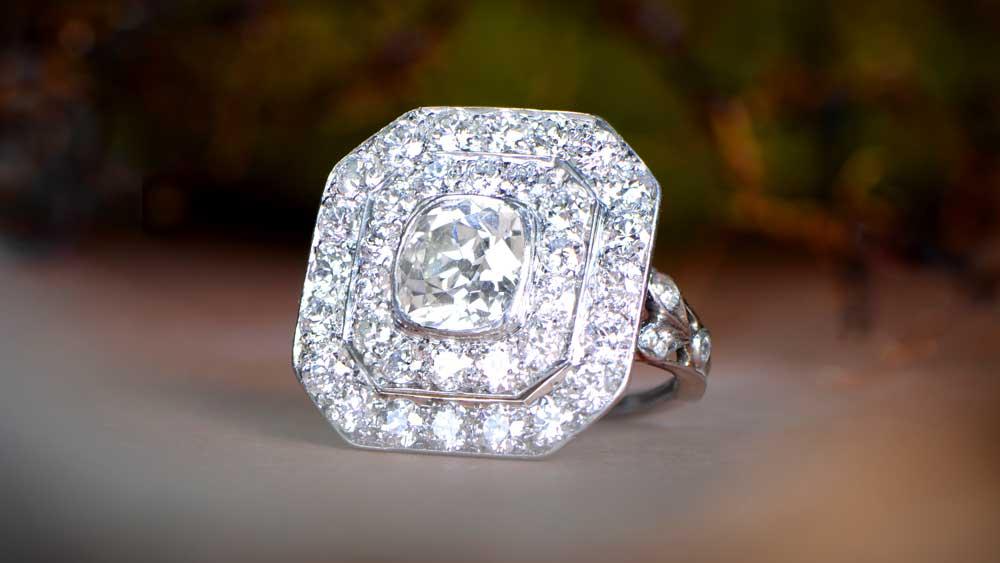 Bezel Set Platinum Vintage Ring