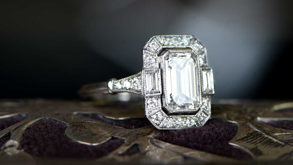I Color Emerald Cut Diamond Engagement Ring