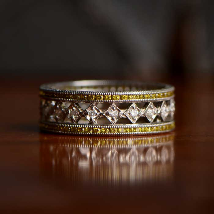 Vintage Wedding Band with Diamonds and Yellow Diamonds