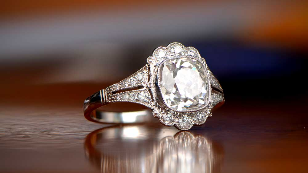 H Color Diamond Engagement Ring