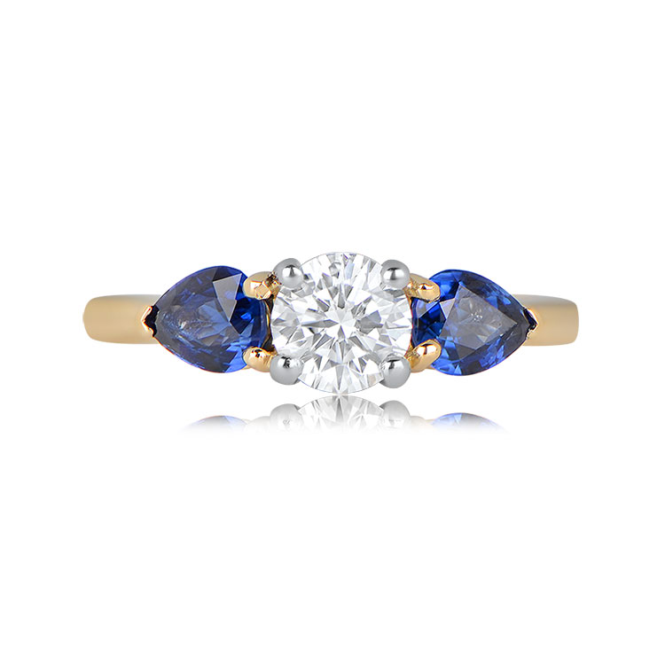 584d7925e Vintage Tiffany Diamond and Sapphire Ring - 18k Yellow Gold