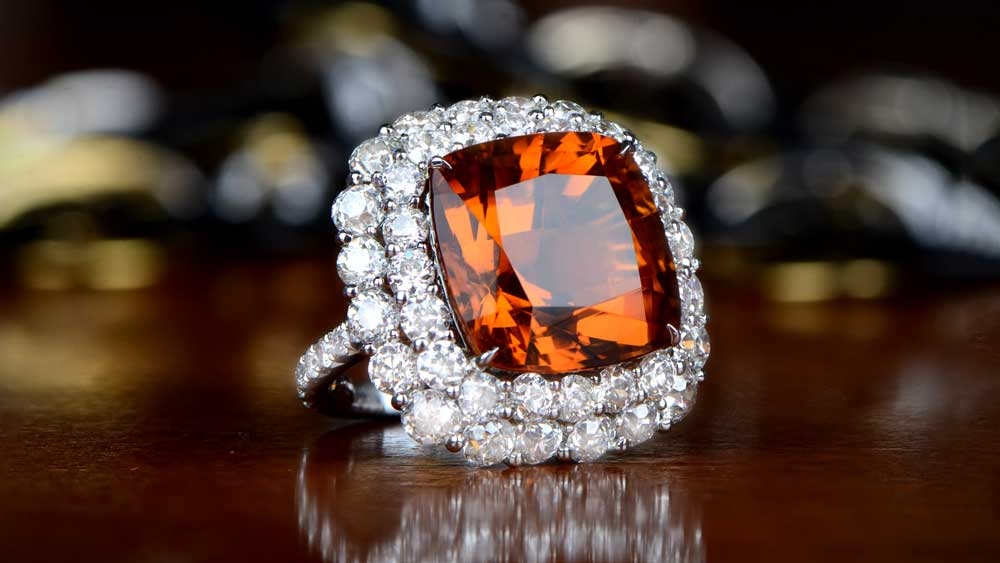 Citrine Ring with Melee Diamonds