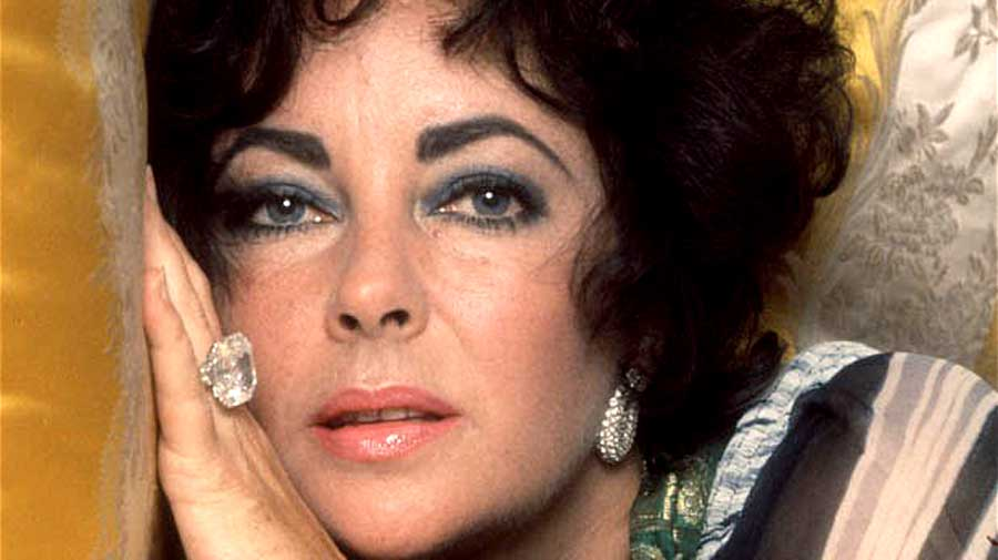 Liz Taylor wearing Engagement Ring