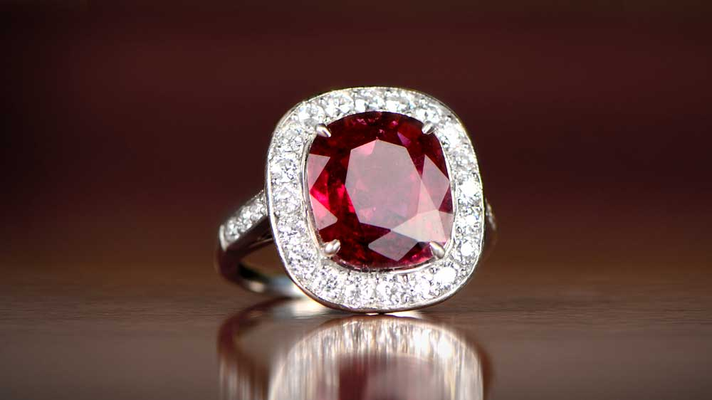 Red Tourmaline Ring With Diamond Halo