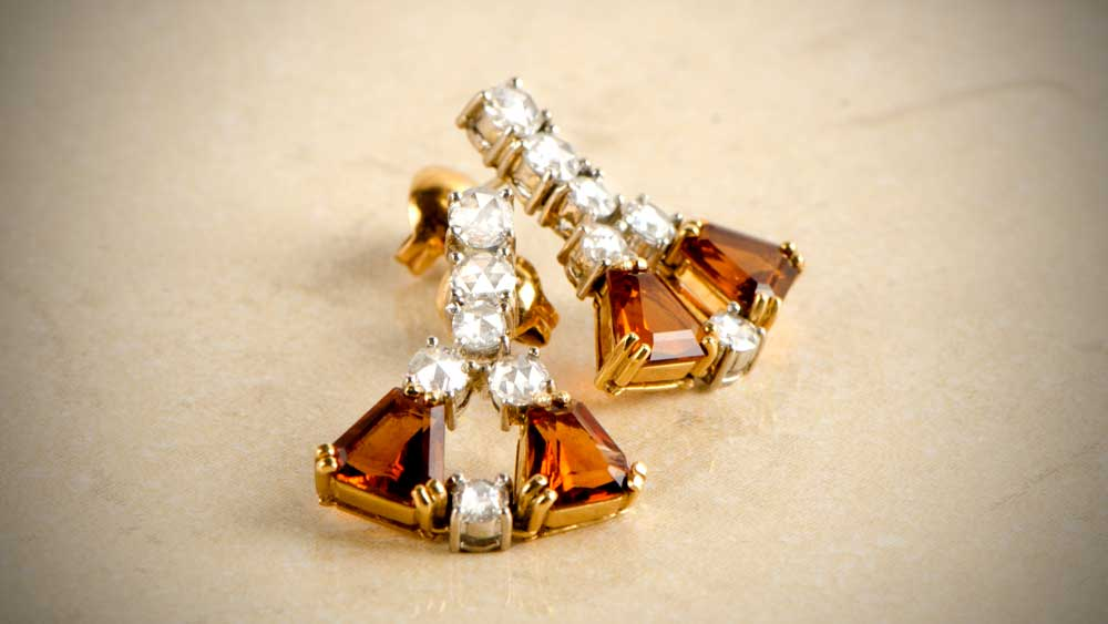 Vintage Citrine November Birthstone Earrings