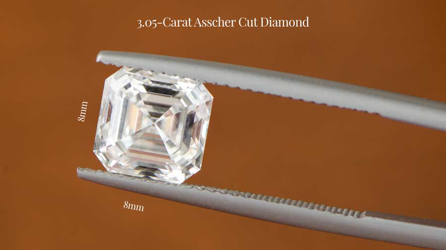 3 Carat Asscher Cut Diamond Dimensions