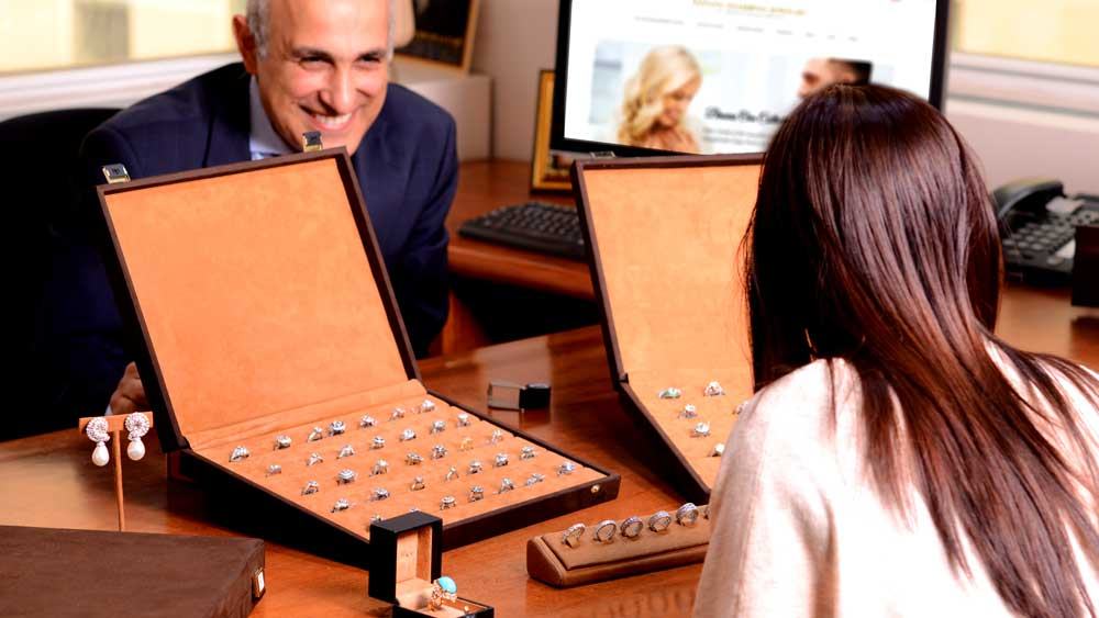 Estate Diamond Jewelry Showroom Appointment with Afshin