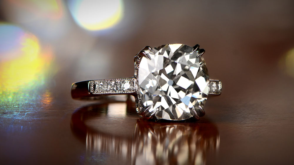 Cushion Cut Diamond in Engagement Ring