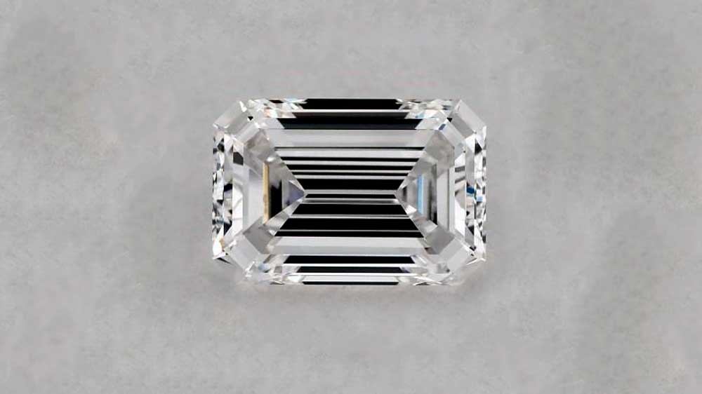 Emerald Cut Diamond on Grey Background