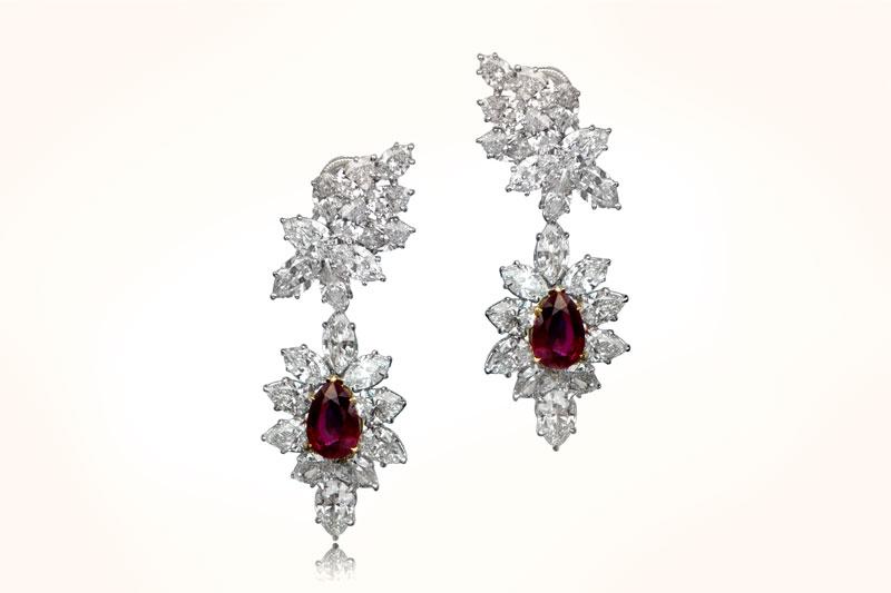 Rare Harry Winston Ruby Earrings