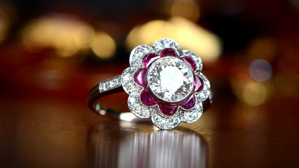 Ruby Floral Diamond Engagement Ring