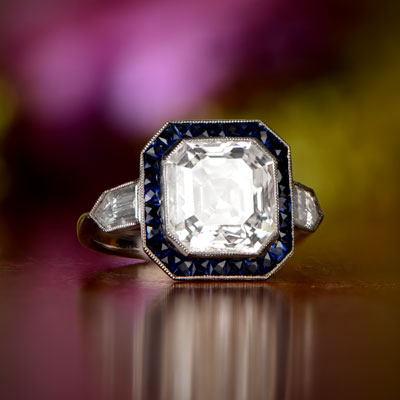 Asscher Cut Diamond Engagement Ring Artistic