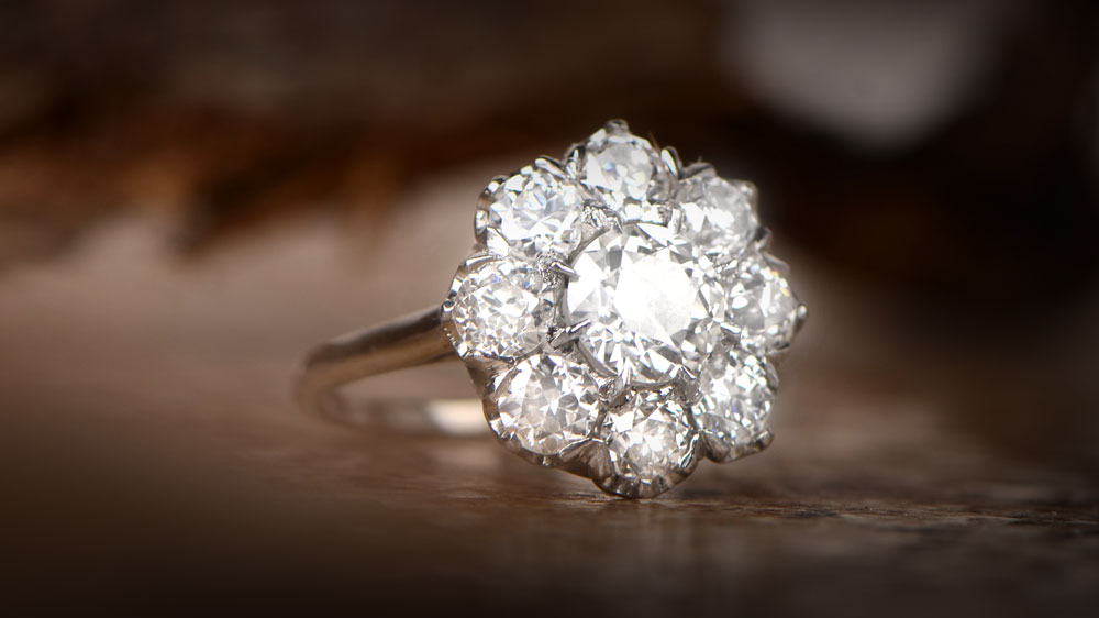 Diamond Cluster Vintage Engagement Ring
