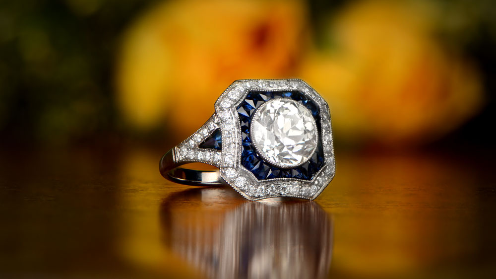 Diamond and Sapphire Platinum Engagement Ring
