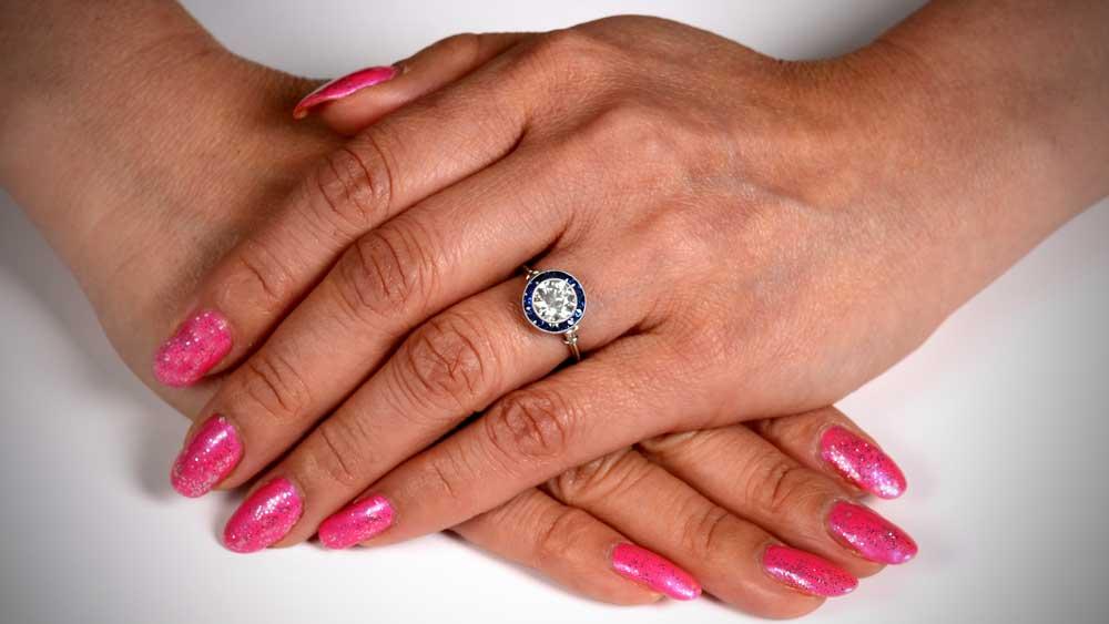 Lady Wearing Diamond Engagement Ring