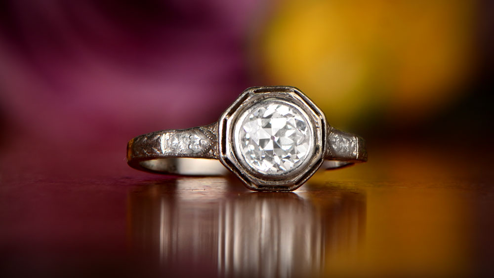 Platinum Engagement Ring with Flowers