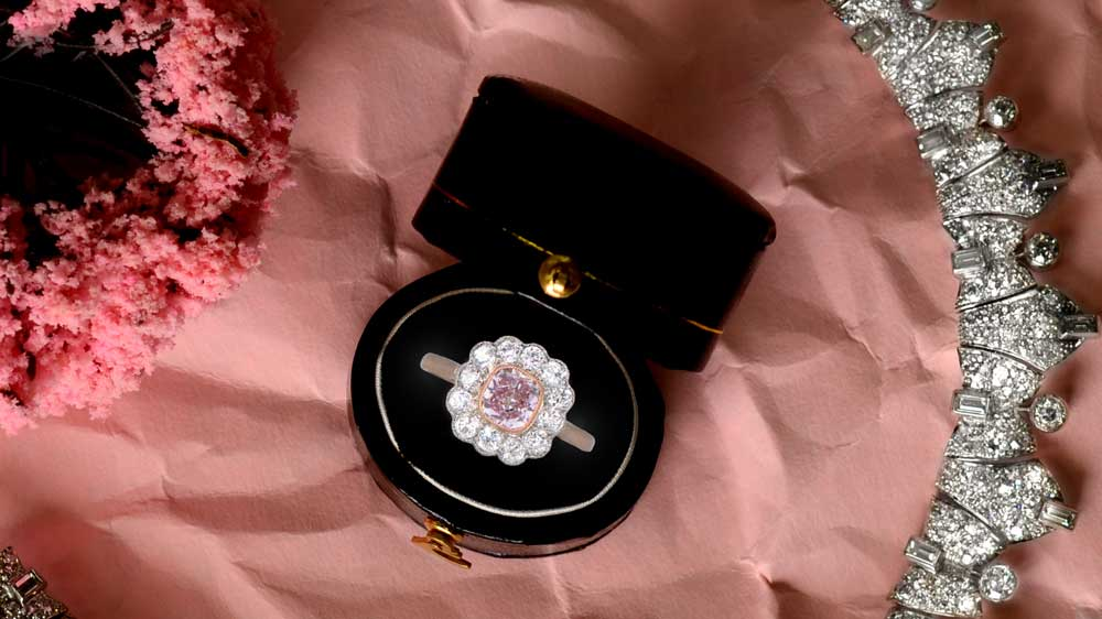Purple Diamond Engagement Ring with Necklace Border and Box