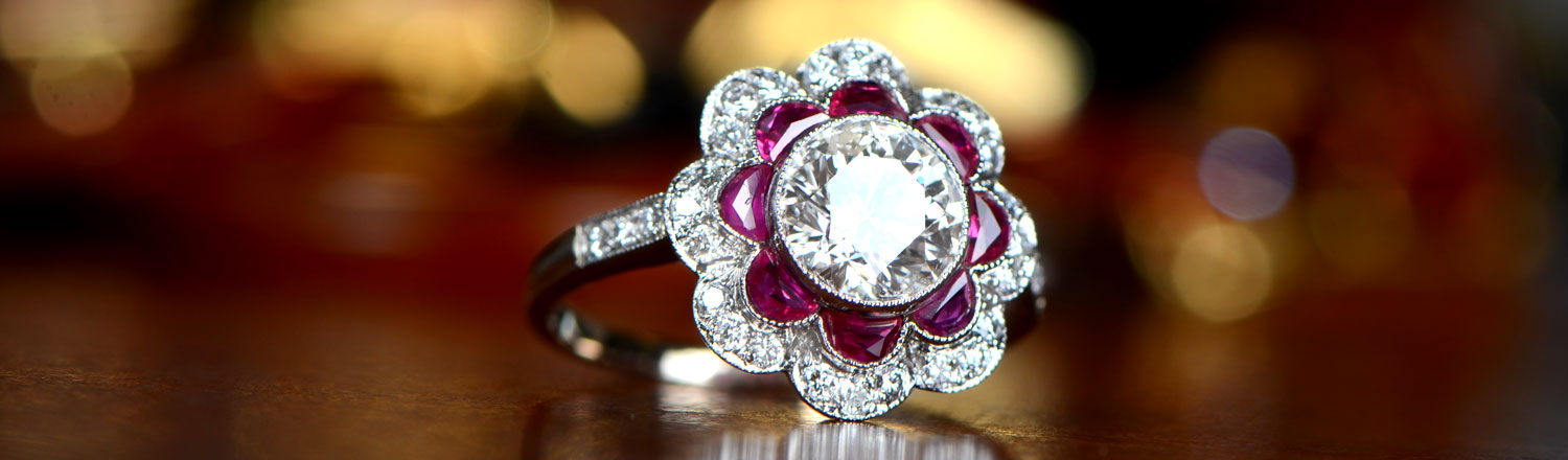 Ruby Halo Diamond Engagement Ring