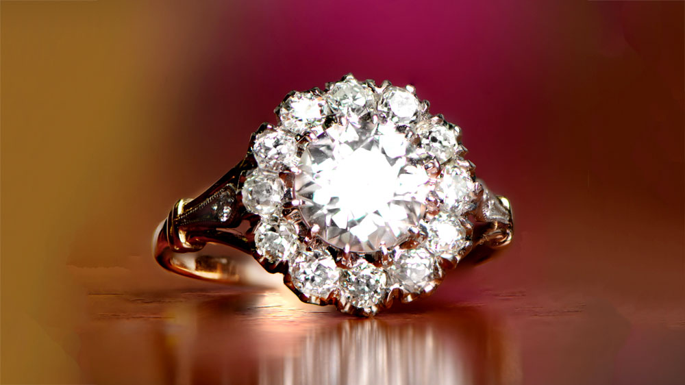Diamond Floral Engagement Ring With Good Color