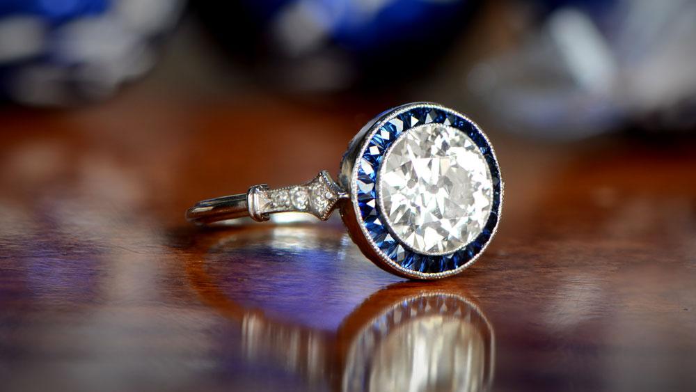 11019 Artistic Diamond and Sapphire Halo Ring