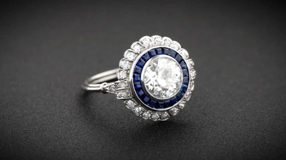 11058 Floral Estate Diamond Engagement Ring Nouveau