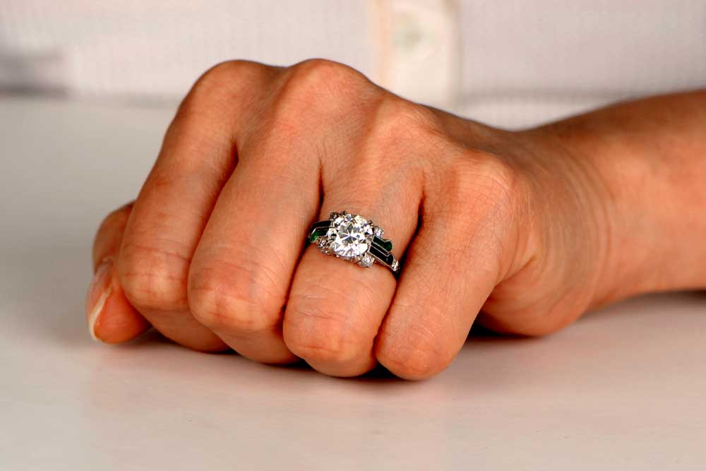 11947 Bolon Diamond Onyx Emerald Engagement Ring 20k