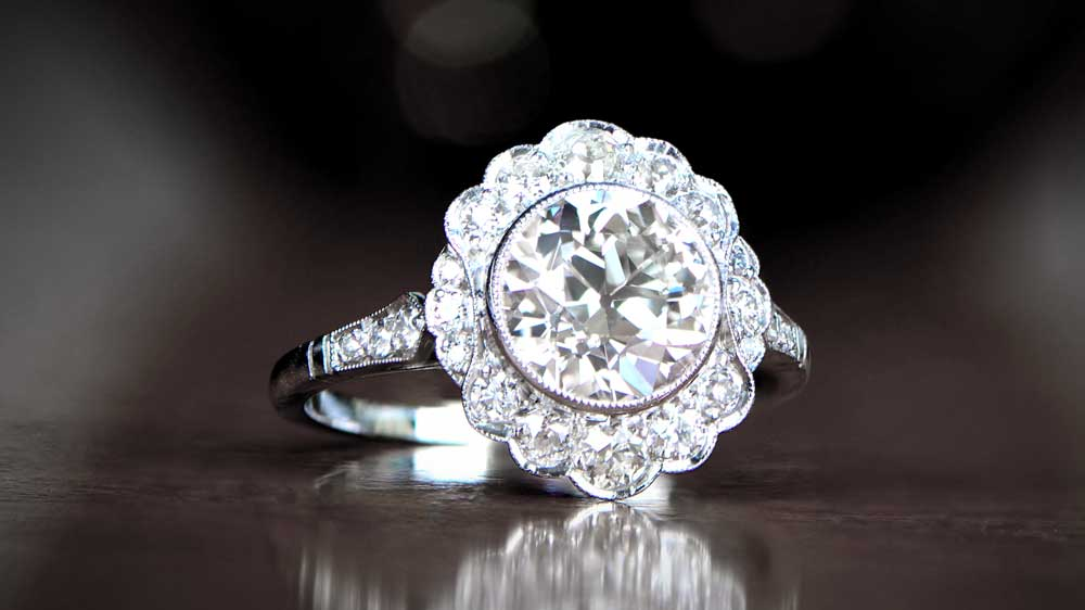 Diamond Engagement Ring with Halo of Diamonds
