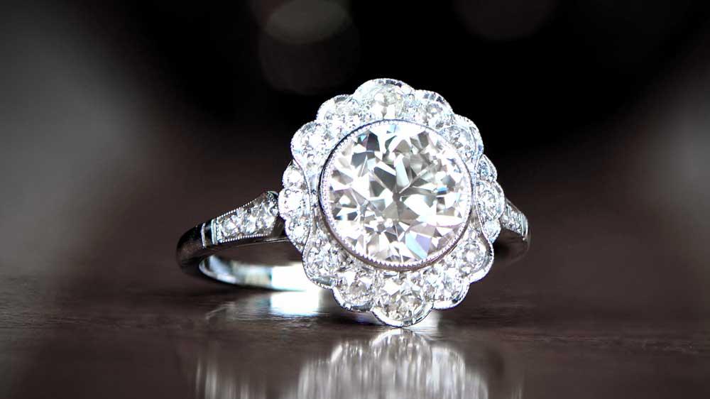 12067 Diamond Edwardian Engagement Ring Style